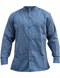 Shopoholic Moda Rayas Hombre Hippie Camisa De Abuelo