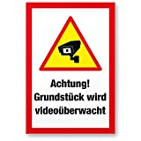 Grundstück Videoüberwacht Kunststoff Schild (30 x 20 cm) - Achtung/Vorsicht Videoüberwachung - Hinweis/Hinweisschild Videoüberwacht - Warnschild/Warnhinweis