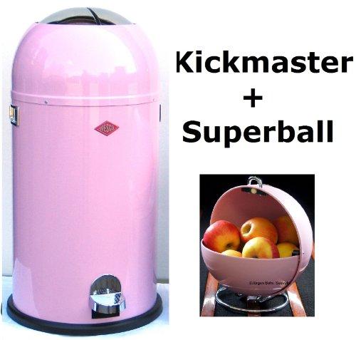 Preisvergleich Produktbild Wesco Kickmaster 33-Liter Abfallsammler & Superball Präsentierkugel im Set, Farbe: pink