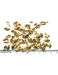 Matte Gold Finish Leaf Beads For Jewellery Making, Craft Works, Pack Of 500 Nos