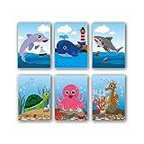 12x bunt Sea Life Notizbücher/Memos–6verschiedene Designs (Schildkröten, Wale, Delphine, Octopus, Haie). Tolles Ende Term Geschenke, Klasse Preise oder Tütenfüller