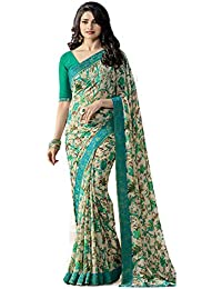 Vedant Vastram Women's Georgette Printed Saree With Blouse Piece - A15_Flower_Beige And Green_Free Size