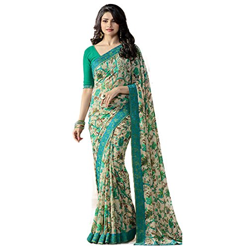 Tagline Women's Faux Georgette Saree With Blouse Piece (Tag15051,Beige,Free Size)