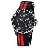 Regent Kinder Jugend-Armbanduhr Elegant Analog Textil Stoff-Armband schwarz rot Quarz-Uhr Ziffernblatt schwarz URF1124
