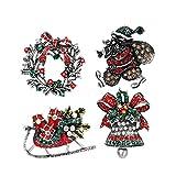 Toyvian 4pcs Spille di Natale Jingle Bell Wreath Decorazioni per slitte di Babbo Natale Spille di Strass di Cristallo Spille Festa di Natale bomboniere Regali