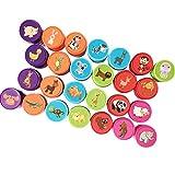 Sellos Infantiles - 26 Piezas Patrón De Dibujos Animados Lindo Sellos Kit De Herramientas - Diversión Creativa Juguete para Niños y Niñas (con 1 Almohadilla De Tinta