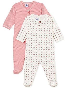 Petit Bateau Baby-Mädchen Schlafstrampler, 2er Pack