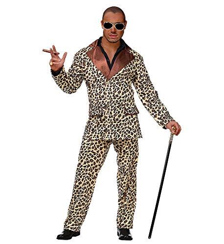 shoperama Funky Leopard Anzug Pimp Herren-Kostüm Sakko Jacke Hose Fell Lude Zuhälter Stenz Gauner Assi Proll Disco Fever, - Leopard Anzug Kostüm