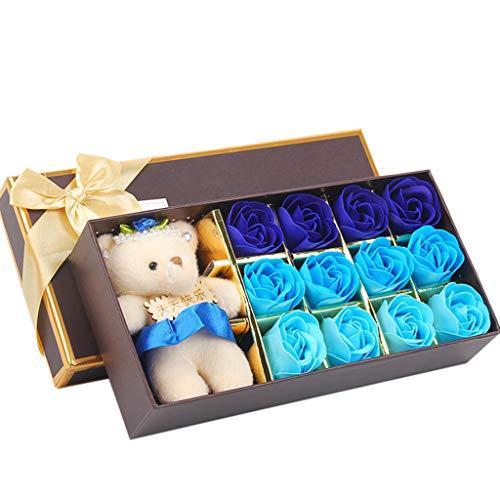 Seifenblume 12 STÜCKE Romantische Rose Seife Blume geschenkbox mit Plüschtier Spielzeug Bär Puppe Küche Haushalt Wohnen Bastel Malen Nähen Blumengestecke (Blume Schönheit Blush)