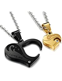 Peora Stainless Steel Heart Puzzle CZ Couple Pendant for Men Women