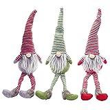 DTKJ 3Pcs Decorazione Natalizia per Le Vacanze Presente Bambola in Peluche a Righe Fatta a Mano da Tavolo Figurine di Santa Ornamenti Forniture per Regali di Natale