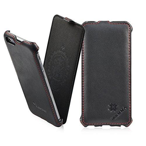 MANNA | Étui / housse / coque de protection luxe pour iPhone 6 de 4,7 pouces | EN CUIR DE NAPPA* | Flip case | Couleur noir Flip Case, CUIR Nappa | Noir