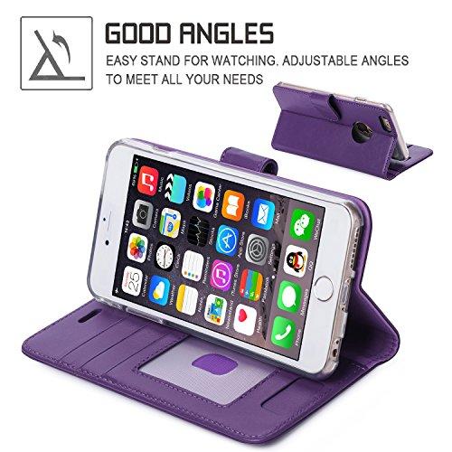 iPhone 6S Plus Coque, Coque iPhone 6 Plus, Fyy® [Séries Haut de gamme] Étui en cuir de première qualité avec Coverture Toute-Puissante pour iPhone 6 Plus/6S Plus (5.5 pouces) Motif 63 1A-Violet