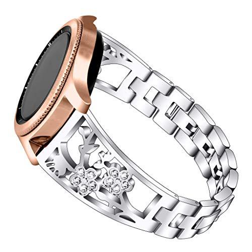 Waotier für Samsung Galaxy Watch 42 Armband für Samsung Galaxy Watch Active 40mm Edelstahl Armband Steinstrass Deko Blumenmuster Armband für Samsung Galaxy Watch 42mm 40mm Armband für Damen (Silber)