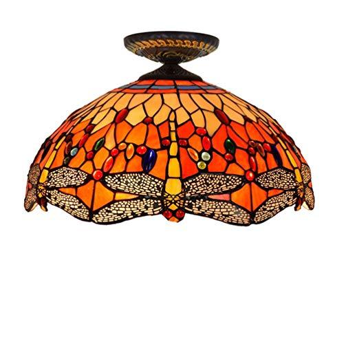 YWYU Tiffany-Stil Unterputz-Deckenleuchte Red Dragonfly Glass Shade Deckenleuchte Deckenmontage Beleuchtung Nachtlicht für Schlafzimmer, Küche, Flur, Büro (größe : 16 inch, watt : 110v)