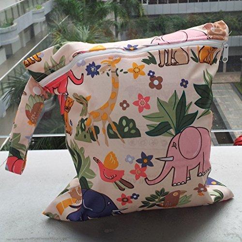 Bambino Neonato Cerniera Impermeabile Del Panno Riutilizzabile Sacchetto Del Pannolino Del Leone Modello Animale Beige