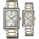 Casio His & Her Silver Dial Two Tone Stainless Steel Band Couple Watch [MTPLTP-1235SG-7A]