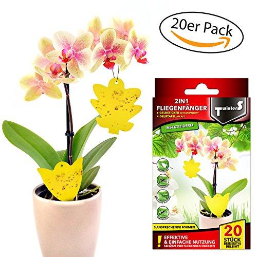 *2in1 Fliegenfallen – Gelbsticker, Gelbtafeln, Gelbstecker, dekorative Leimfalle gegen Trauermücken 20 Stück*