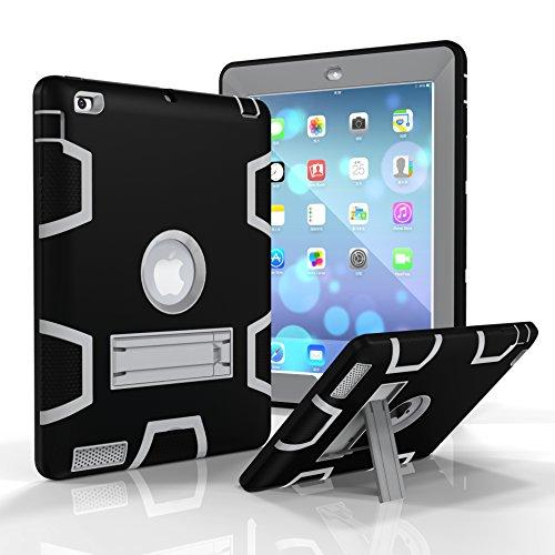 iPad 2/3/4Fall, dooge Drei Schichten PC & Silikon Armor Defender Heavy Duty Dämpfung Robuste Hybrid Full Body Schutzhülle mit Ständer für Apple iPad 2/iPad 3/iPad 4, Schwarz/Grau