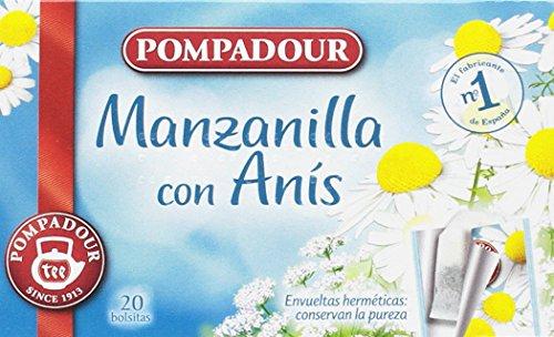 Pompadour Té Infusion Manzanilla con Anís - 20 bolsitas - [Pack de 5]