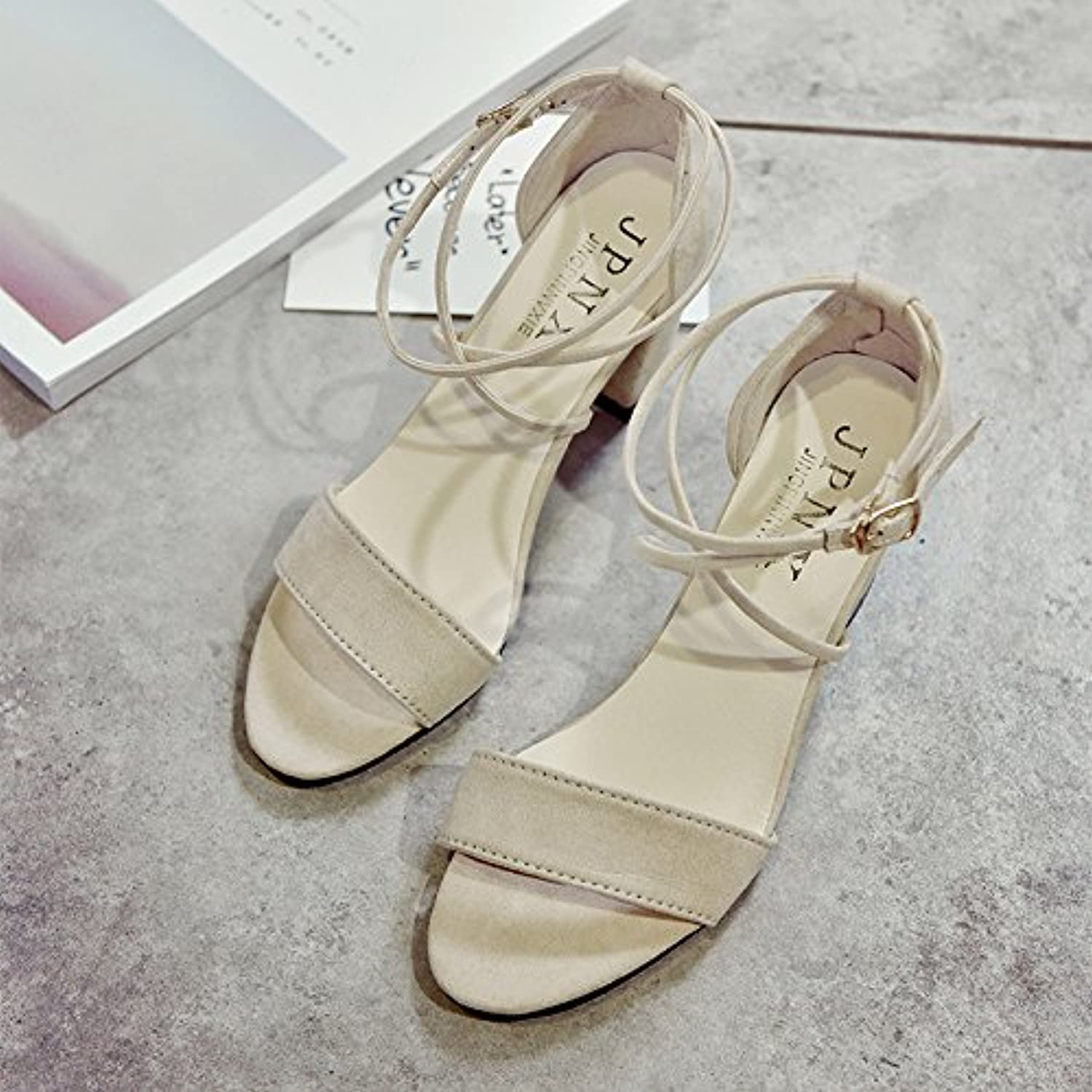 c10a572242c2 RUGAI-UE Summer Is Thick Open Open Open Toe Shoes Buckle Strap Fashion Show  Thcool