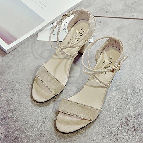 Rugai-eu L'été Est Souvent Open Toe Chaussures Crochet De Cerclage Fashion Show Thcool Chaussures Beige