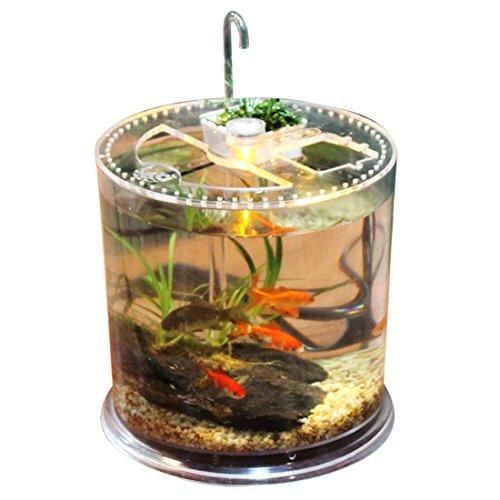 YAHAMA Fisch Tank Aquarium Led Lichtern in Säulenform Tischplatte Aquarium Kleine Schildkröte Fütterung Box