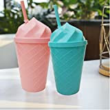 Kieana Juice Bottle For Kids, Glass Sipper With Straw For Children, Cartoon Animated Printed Designer Water Bottles Sippers For Drinking Milk, Juices, Shakes, Coffee Etc, Specially Designed For School Going Boys And Girls And Sport Persons, Return Gift, B