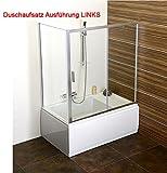 Duschwanne mit Sitz (Sitz Rechts) 120x75cm, 39cm tief mit Duschkabine, Verkleidung/Schürze, Wannenfüssen und Sifon