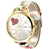 Rrimin New Luxury Fashion PU Leather Wristwatch Women Dress Watch NO.6