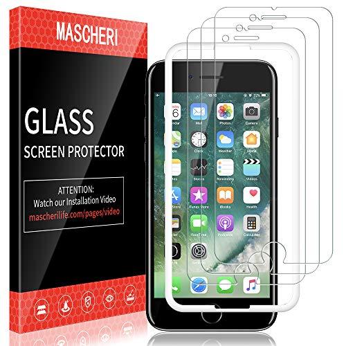 MASCHERI Schutzfolie für iPhone 7 panzerglas, [3 Pack] Displayschutzfolie [Ausgestattet mit einem Einbaurahmen] Displayschutz Displayschutzfolie Glas Folie für iPhone 7 - Transparent