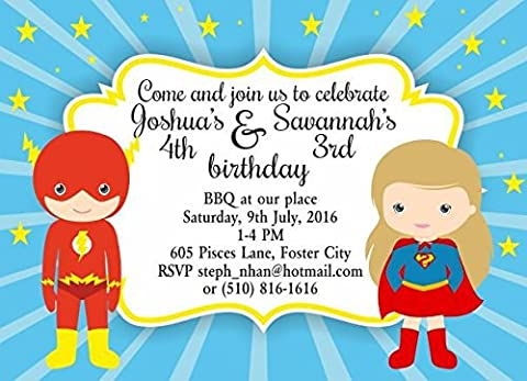 10 x Personalised Joint Birthday Party Invitations or Thank you Cards Flash Supergirl
