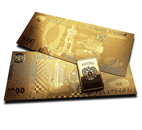 Russian Rare Gold Plated Banknot...