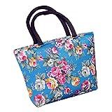QinMM Mode Frauen Mädchen Druck Leinwand Shopping Handtasche Schulter Tote Shopper Tasche Corssbody Tasche & Handtasche Brusttasche Lila Schwarz Weiß Rot Blau (Blau)