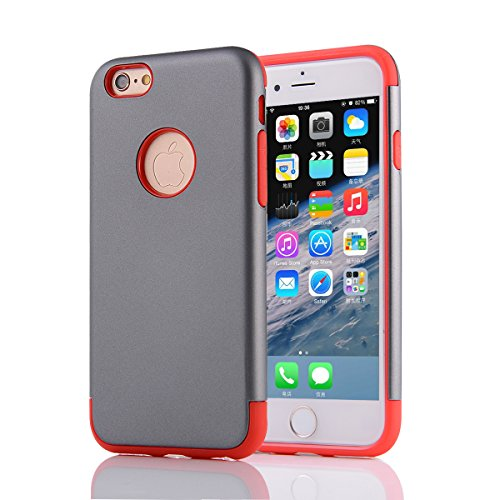 "MOONCASE iPhone 6S Coque, Combo Hybride Dual Layer TPU +PC Etui Antichoc Robuste Housse Protection Armure Case pour iPhone 6 6s 4.7"" Navy Gris Rouge"