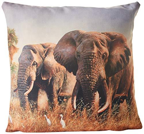 Yute & ~ Co. Cojín Estampado de Elefantes, 100% algodón,, Talla única