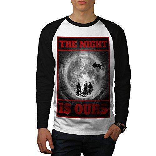 wellcoda Nacht BMX Mond Mode Männer 2XL Baseball LS T-Shirt
