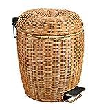 C Ang Lehrer Rattan Compile Haushalt Mülleimer, 3L/5L/8L/12L Küche mit überdachtem Pedal Mülleimer, kreativer Mehrzweck-Mülleimer (Farbe : Yellow-5)