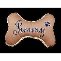 Hunde Spielzeug Kissen Knochen Hundeknochen Quitscher cognac braun Name Wunschname Größe XS S M L oder XL