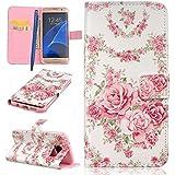 CareyNoce Galaxy S7 Edge Coque,Flip Housse Etui Cuir PU Coque pour Samsung Galaxy S7 Edge SM-G935 (5.5 pouces) -- Rose rose