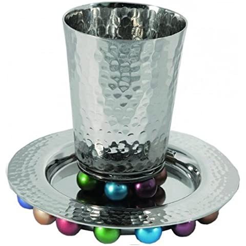 Hammered Aluminum Beaded Kiddush Cup and Plate / Multicolor by Yair Emanuel