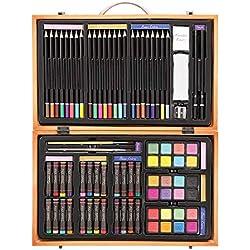Darice- Ensemble d'Artiste Professionnel dans Un Coffret en Bois (80 pièces), 1103-08, Multicolor, 36.8 x 23.1 x 7.4 cm
