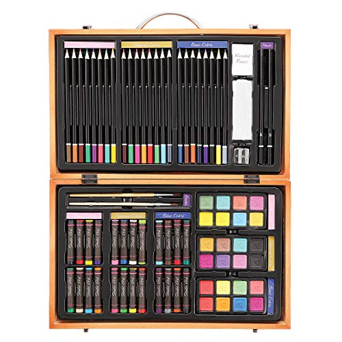 The Darice Deluxe Art Set contains 80 pieces - 70 amazing art materials all contained in a wooden box. Oil pastels, colored pencils, watercolor cakes, paint brushes, pencils, eraser, sharpener and sanding block are included. Ideal for ages 6 and up.