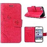 MOONCASE iPhone 4S Bookstyle Étui Fleur Housse en Cuir Case à rabat pour iPhone 4 4S Coque de protection Portefeuille TPU Case Rose