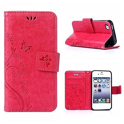 Coque Iphone 4 Cuir - MOONCASE iPhone 4S Bookstyle Étui Fleur Housse