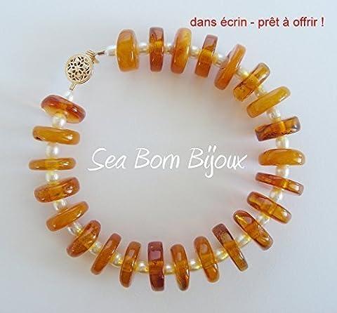 Honey - Bracelet - Ambre Baltique Véritable - Perles de Culture - Or Gold Filled 14 ct - dans Boite Cadeau