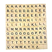 Chianrliu Generic Wooden Freestanding Mdf Letters of Scrabble Alphabet A to Z-Black