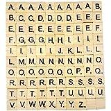 Generic - Lettres en Bois de Scrabble - Puzzle Alphabets A à Z, Noir