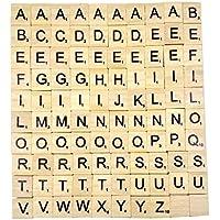 Generic - Lettres en Bois Puzzle Alphabets A à Z, 100 Scrabble Wood, Noir