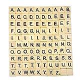 Chianrliu- Lettres en Bois de Scrabble-Puzzle Alphabets A à Z, 100 Wood, Noir